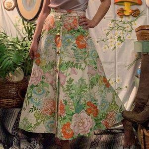 1960s handmade button front floral maxi skirt